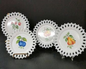Vintage hand painted milk glass plates.  Set of 4. Fruit design. 6 inch plates.