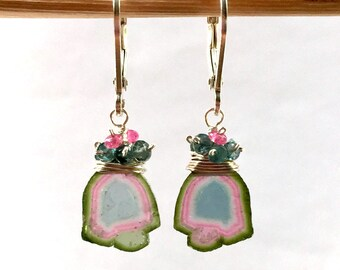 Watermelon Tourmaline Earrings, Tourmaline Slice Earrings, Blue Pink Tourmaline Earrings - Sterling Silver