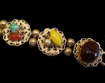 Vintage Gold Filigree Charm Bracelet