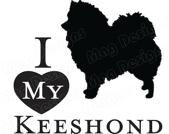 Vinyl Dog Decal - KEESHOND - Doggie Decal - Animal Sticker - Silhouette in your colors