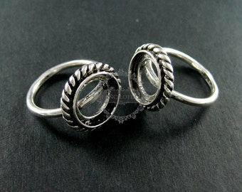 5pcs 12mm round setting vintage style antiqued silver plated ring base tray DIY supplies 1213006