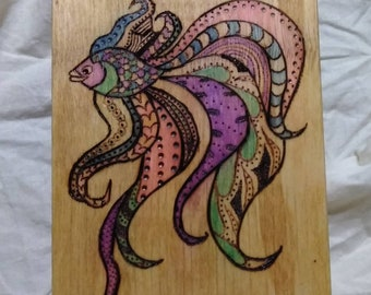 Color decorative woodburning fish box