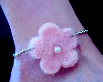 Pink Funky Felt Flowers Anklet
