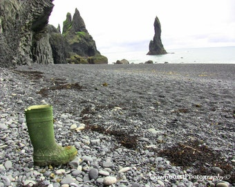 Lonely Boot Beach, Reynisfjara Beach, Iceland, Black Rock Beach, Sea Decor, Wall Art, Beach Decor, Beach Photography, Seaside Art