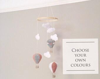 Pink Balloon Mobile,  Balloon Nursery Decor, Baby girl Mobile, Balloon Cot Mobile, Cloud Mobile, Cloud Nursery Decor, Girl Cot Mobile