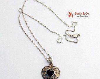 SaLe! sALe! Vintage Heart Pendant Necklace Sterling Silver Black Enamel