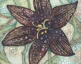 Flower- Chocolate Lily 8.5 x 11 print of detailed watercolour artwork in rich and whimsical purple mauve and olive earth tones