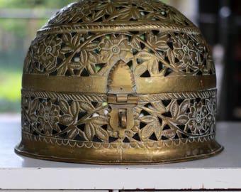 Vintage Brass Ornate Latching Vanity Casket