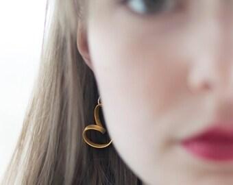 Earrings, waves, brass, silver