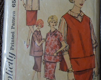 Vintage Maternity 1960s Sewing Pattern Simplicity 4164 Maternity Tops and Skirt Bust 31 inches