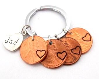 Papa porte-clé, cadeau papa, fête des pères, papa Penny Keychain, Penny Year porte-clés, cadeau pour papa, cadeau enfant, cadeau d'anniversaire de papa, Free Shipping USA