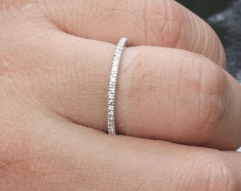 Stackable Simple and Elegant 14k White Gold and Diamond Wedding Band Half Eternity Ring