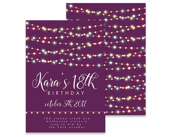 Printable 18th Birthday Invitation | Garland Pretty Lights | Printable DIY Invite, Affordable Invitation, Digital Invite, Girl's Invite 18th