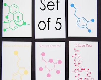 Set of 5 Chemistry Nerd Greeting Cards - 5% Dis