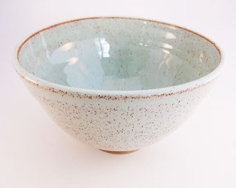 Stoneware Hand-thrown Medium Size Serving Bowl. Mint Green Bowl. Made to order.