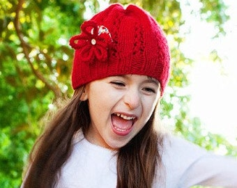 Knitted Wool Hat with Flower by Sheeps Clothing