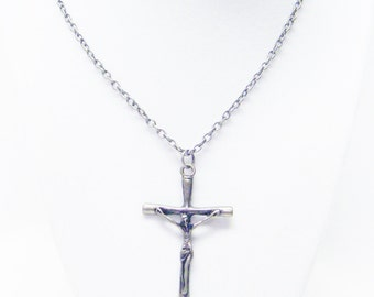2.5 Inch Antique Silver Plated Crucifix Cross Pendant Necklace