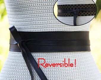REVERSIBLE Leather Wrap Sash Belt • Black + bonus reversible fabric print • XS S M L XL Petite & Plus Size • Cinch Sash Obi Custom Made Obi