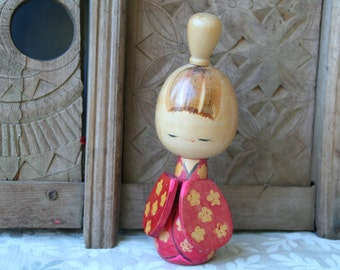Vintage Japanese kokeshi doll,  Kokeshi wooden doll, Japanese folk art