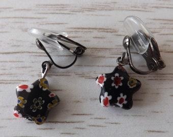 Clip-on black millefiori earrings, clipon floral star earrings, clip-on earrings, flower earrings, unpierced earrings, non-pierced earrings,