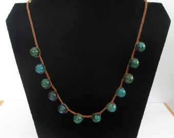 Statement Crocheted necklace with Criscola stones, Christmas gift, holiday sale