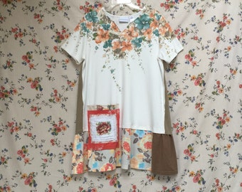 Upcycled  Floral Patchwork Tunic top, Cotton Dress Wearable Art, Upcycled Shirt Repurposed Clothing Reclaimed T-Shirt