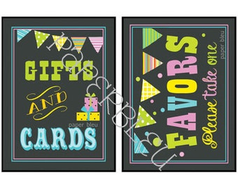 """Weddings/Parties - """"Gifts/Cards"""" & """"Favors"""" Table Signs - Instant Printable Download - Chalkboard look - 5x7 each"""