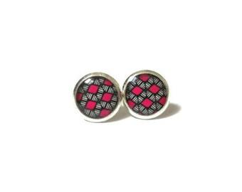 PINK EARRINGS - Pink Stud Earrings - Handmade Earrings - Child Earrings - Cute Earrings - Ear Post Earrings- Ethnic Earrings- Girls Earrings