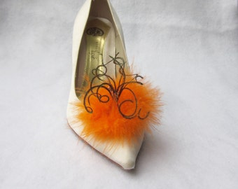 Orange Feathered Shoe Clips  More Colors Available