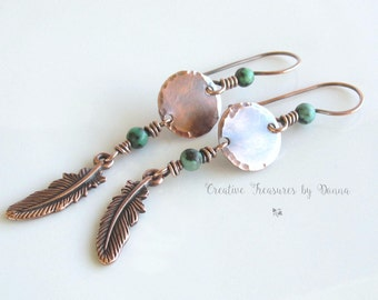 Southwest Copper Earrings Turquoise Gemstones Tierra Cast Copper Feather Charms Copper Discs Country Western Earrings
