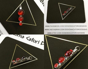 Triple Gem Sterling Silver Pendant with Amber Carnelian and Red Onyx