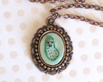 Mini Hand Embroidered Pickle Necklace