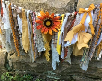 Beautiful Handmade Fall/Autumn Fabric Rag Tie Garland Decor For Mantle/Fireplace, Wall,Door, Window Swag, Wedding. PhotoProp, BabyShower Etc