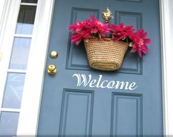 Welcome Sign Door Decal - Vinyl Wall Decal, Front Door Decoration, Door Sticker, Outside Decor