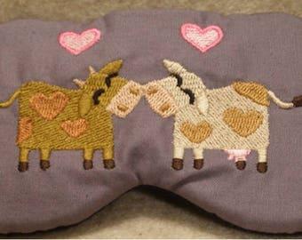 Embroidered Eye Mask for Sleeping, Cute Sleep Mask for Kids or Adults, Sleep Blindfold, Eye Shade, Love Slumber Mask,Cow Design, Handmade
