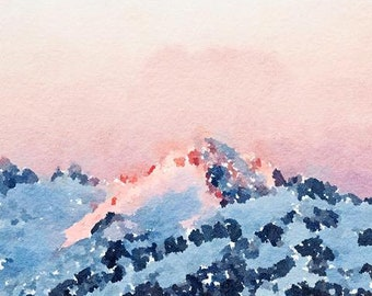 Mountain Original Watercolor Brush Illustration Painting