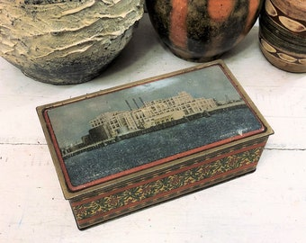 Antique Procter & Gamble Factory Tin, Long Beach, Christmas Art Deco Poinsettias, Canco Orange and Blue, Vintage c 1920s, Keepsake Box