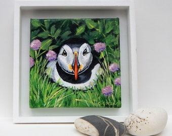 "Original framed  acrylic ""Puffin"" bird painting"