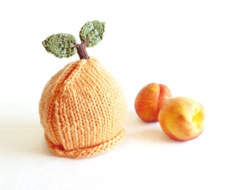 Peach Hat - Soft Hand Knit - Baby size - Ready to Ship