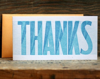 THANKS letterpress card