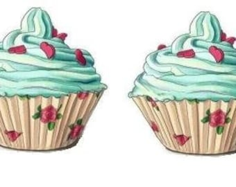 Temporary Tattoo -  Set of 2 Cupcake - Various Patterns / Tattoo Flash