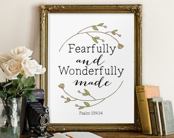 Bible verse wall art print, nursery wall art, fearfully and wonderfully made, psalm 139 14, bible verse, scripture print, bible quotes BD491