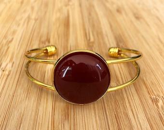 Carnelian Root Chakra Gemstone Cuff Bracelet