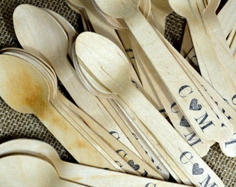 Quantity 50 Personalized Wooden Utensils - Monogram with Heart or Ampersand Design