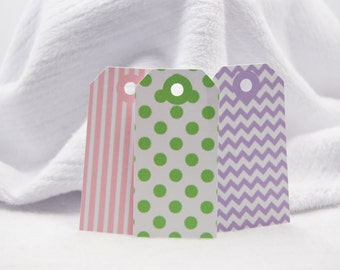 Assorted Gift Tags Birthday Tags Favor Tags Set of 12 Pink Stripes Green Dots Purple Chevron T556