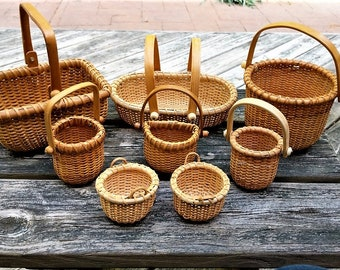 Nantucket Style Basket Assortment 3 Large: Round, Oval, Rectangular, 5 Tiny, 2 Round 1 Flatback and 2 Shorties Total 8 Baskets