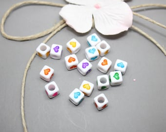 50 acrylic beads cubes heart multicolored 6mm - SC0080524