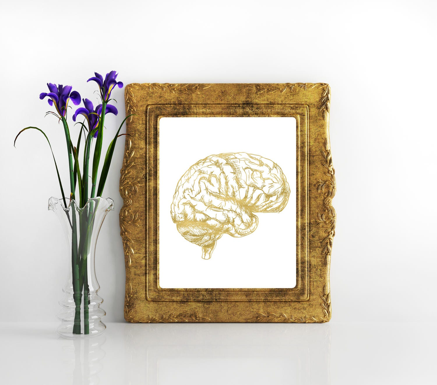 Human anatomy poster gold Brain anatomy print Medical Print