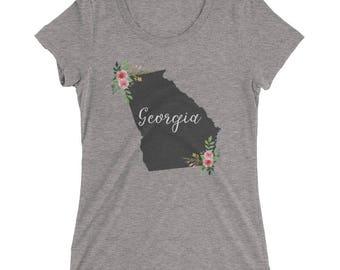 Georgia State Shirt - Atlanta , Albany , Savannah , Augusta - Watercolor Flower Home State Tee - Womens Short Sleeve Shirt