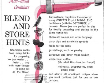 Vintage Mid Century Oster Blender Recipes & Advertisement
